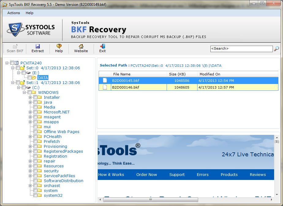 BKF Files Backup Exec Repairing process
